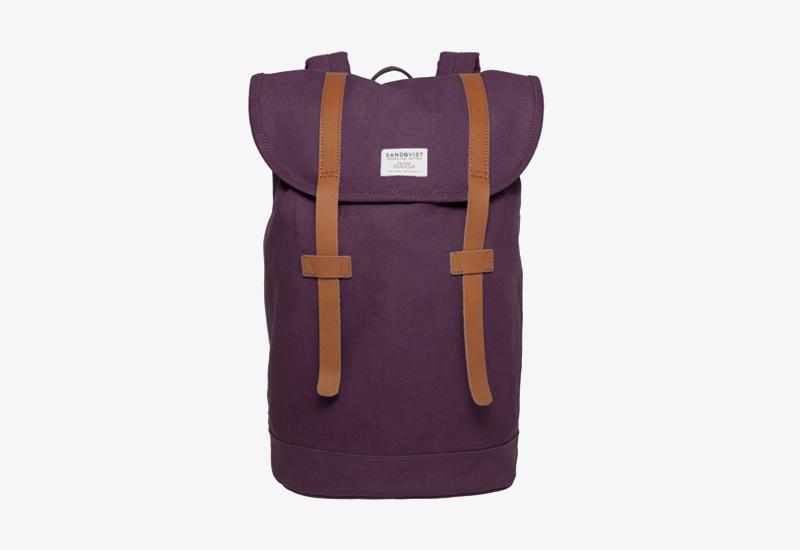 Plátěný batoh na záda – Sandqvist Stig – fialový – stylový elegantní batoh, dámský, pánský | Plátěné stylové batohy