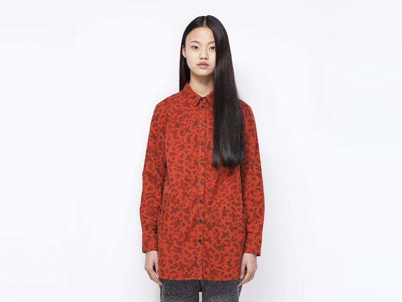 Ucon Acrobatics – dámská červená dlouhá košile s dlouhým rukávem | Dámské značkové oblečení