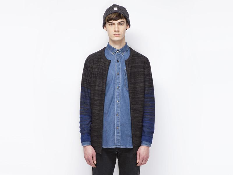 Ucon Acrobatics – pánský svetr na zip, vzorovaný, šedý, modré rukávy | Pánské značkové oblečení
