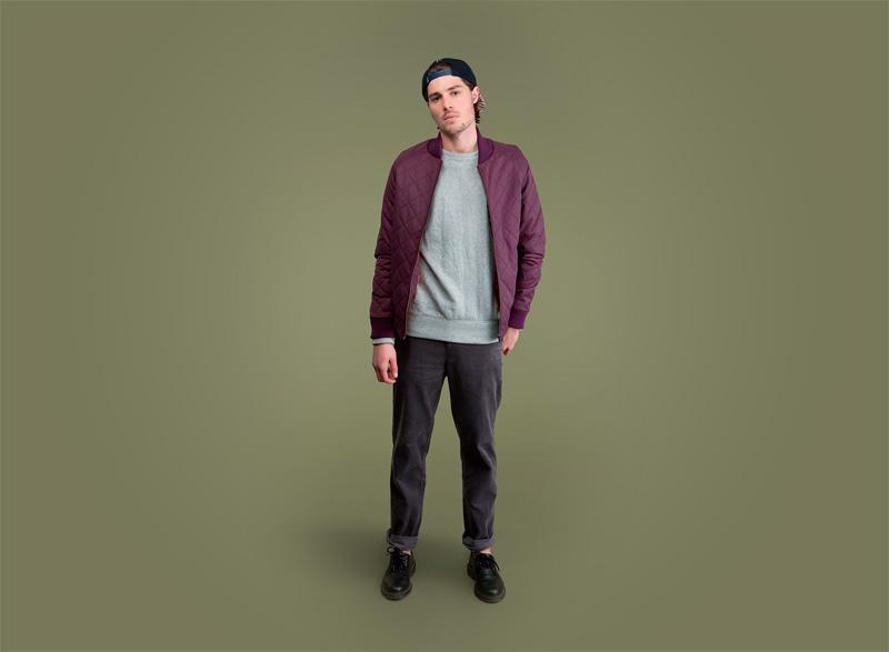Wemoto – pánská bunda do pasu – světle fialová, pánské kalhoty – tmavě šedé | Pánské podzimní/zimní oblečení