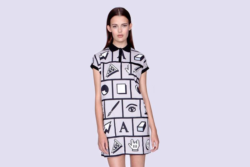 Lazy Oaf – dámské (dívší) šedé podzimní/letní šaty s grafickými ikonami | Dámské oblečení