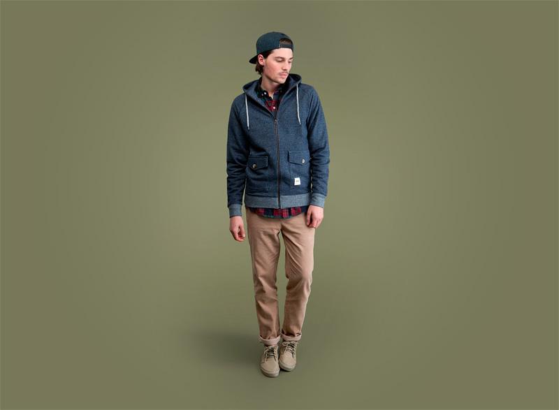 Wemoto – modrá podzimní bunda/mikina na zip s kapucí – pánská, khaki pánské kalhoty | Pánské podzimní/zimní oblečení