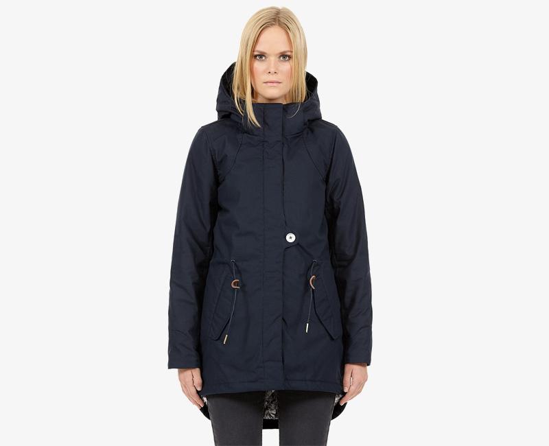 Elvine – dámská zimní parka s kapucí, zimní bunda s kapucí, tmavě modrá, Fia | Dámské zimní bundy a parky