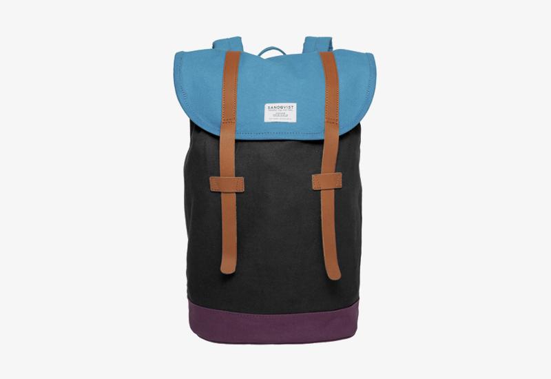 Plátěný batoh na záda – Sandqvist Stig – černý, modrý – stylový elegantní batoh, dámský, pánský | Plátěné stylové batohy