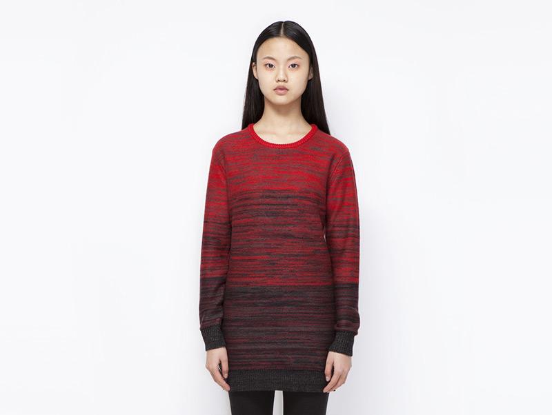 Ucon Acrobatics – dámské podzimní/zimní teplé streetové šaty, červeno-černé, s dlouhým rukávem | Dámské značkové oblečení