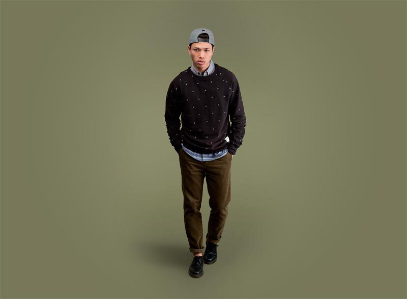 Wemoto – černý pánský svetr s býlímy symboly, pánské hnědo-zelené kalhoty | Pánské podzimní/zimní oblečení