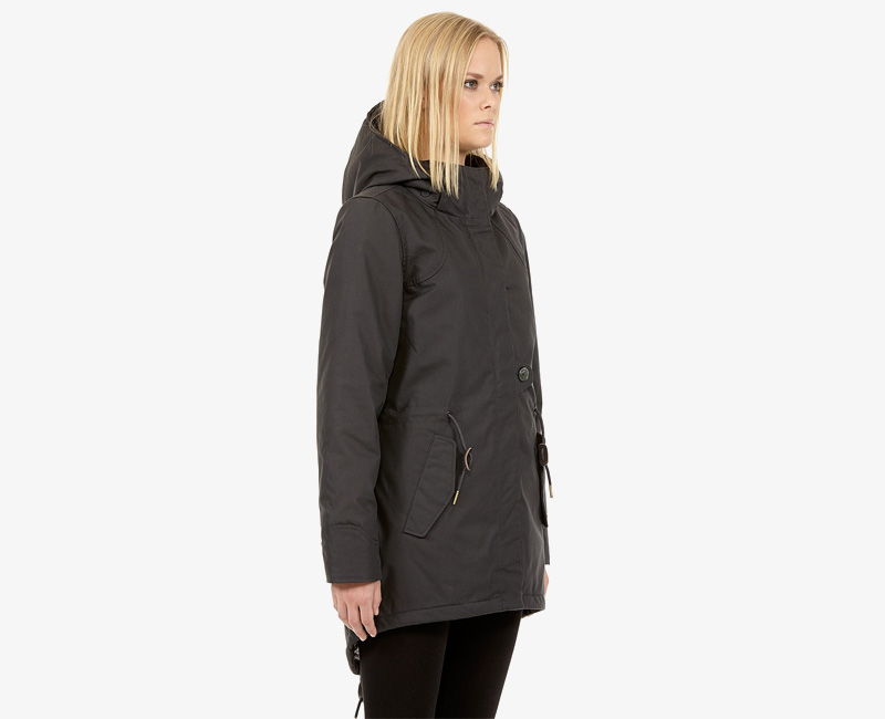 Elvine – dámská zimní bunda s kapucí, zimní parka s kapucí, tmavě šedá, Fia | Dámské zimní bundy a parky