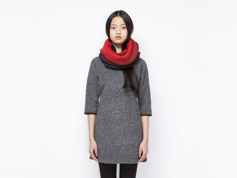Ucon Acrobatics – dámské šedé melírové teplé streetové šaty – podzimní/zimní | Dámské značkové oblečení