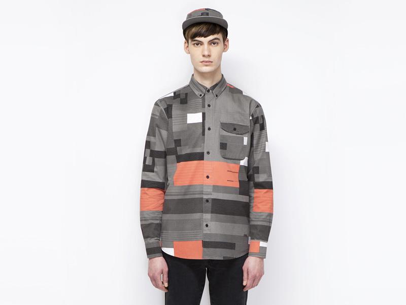 Ucon Acrobatics – pánská košile s dlouhým rukávem, geometrický vzor, šedá, oranžová | Pánské značkové oblečení
