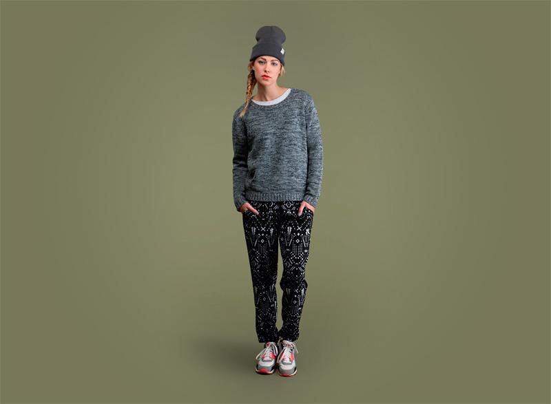 Wemoto – dámský svetr s texturou – zeleno-modrý, dámské černé kalhoty joggers se vzorem | Dámské podzimní/zimní oblečení