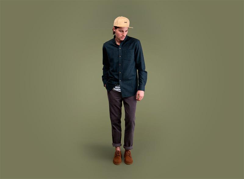 Wemoto – tmavě zelená košile – dlouhý rukáv, pánské kalhoty | Pánské podzimní/zimní oblečení