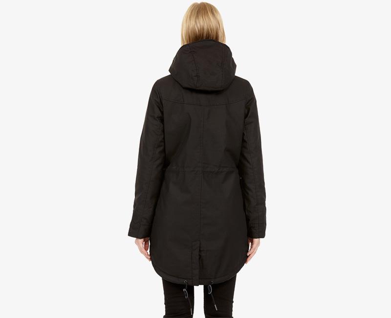 Elvine – dámská zimní parka s kapucí, zimní bunda s kapucí, černá, Fia | Dámské zimní bundy a parky