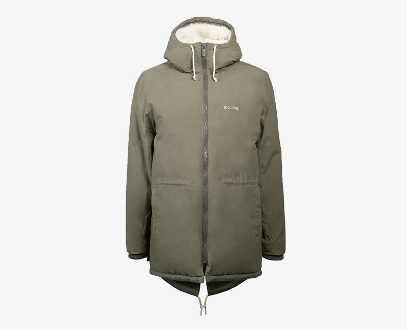 Pánská zimní bunda (parka) s kapucí s kožešinou — Mazine Capmus — olivová zelená | Pánské zimní bundy a parky s kapucí