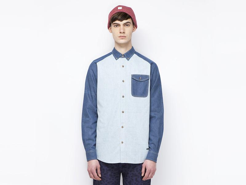 Ucon Acrobatics – pánská bavlněná košile s kapsičkou, světle modrá, tmavě modré dlouhé rukávy | Pánské značkové oblečení