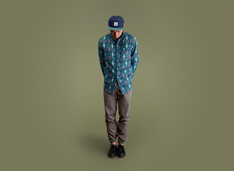 Wemoto – zeleno-modrá pánská košile – dlouhý rukáv, šedé pánské kalhoty joggers s gumou v nohavicích | Pánské podzimní/zimní oblečení