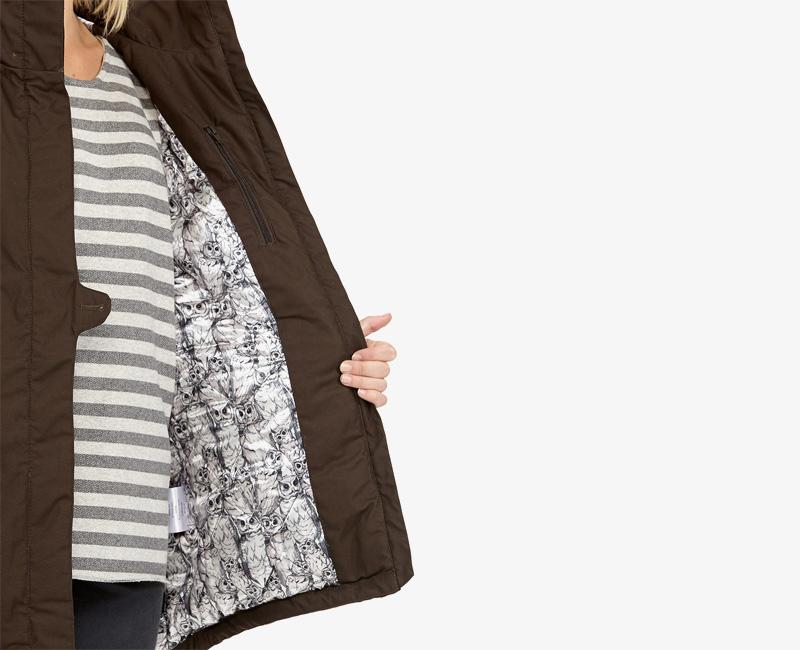 Elvine – dámská zimní bunda s kapucí, zimní parka s kapucí, hnědá, Fia | Dámské zimní bundy a parky