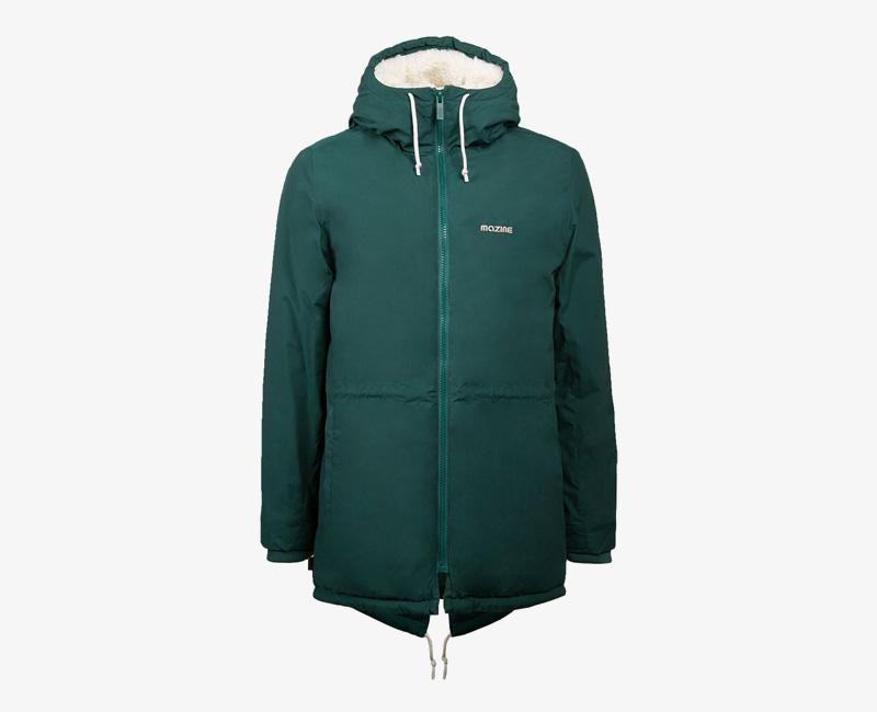 Pánská zimní bunda (parka) s kapucí s kožíškem — Mazine Capmus — zelená | Pánské zimní bundy a parky s kapucí
