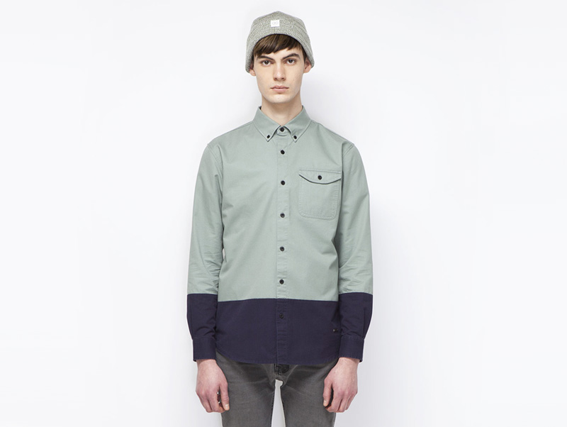 Ucon Acrobatics – pánská košile s dlouhým rukávem, dvoubarevná – bledě zelená, modrá | Pánské značkové oblečení