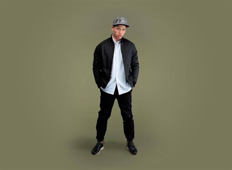 Wemoto – pánský černý bomber, bunda do pasu, jacket, černé kalhoty joggers s gumou v nohavicích | Pánské podzimní/zimní oblečení