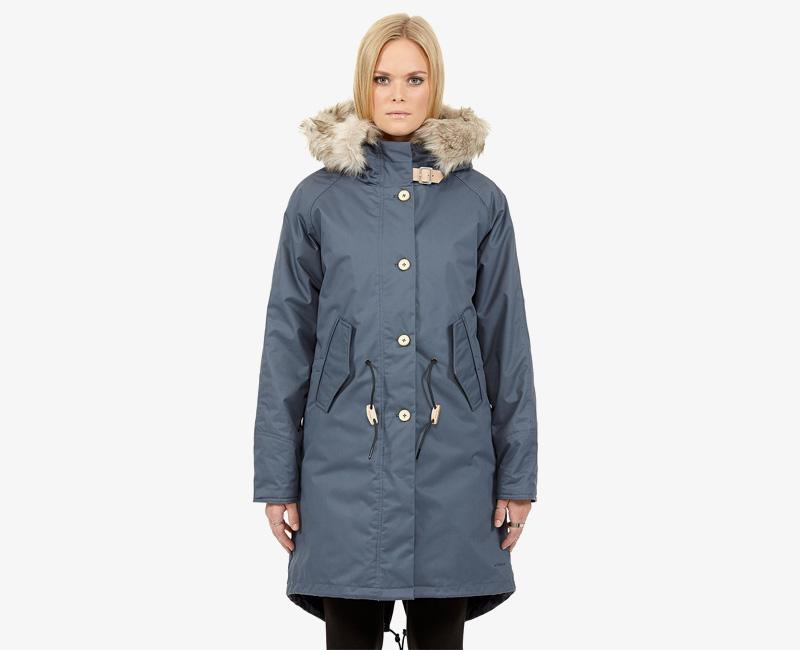 Elvine – dámská dlouhá zimní bunda/parka s kapucí s kožíškem, modrá, Fishtail | Dámské zimní bundy a parky