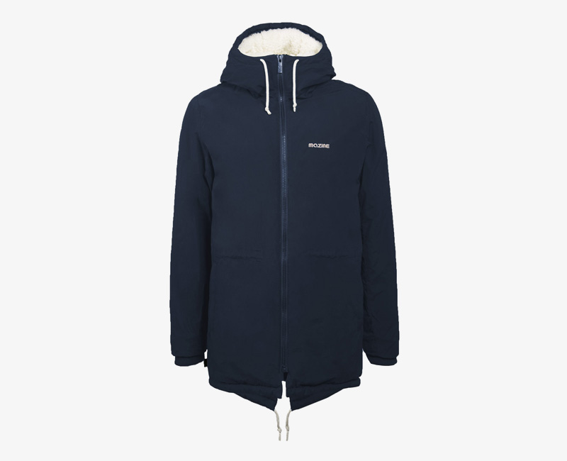 Pánská zimní bunda (parka) s kapucí s kožešinou — Mazine Capmus — modrá | Pánské zimní bundy a parky s kapucí