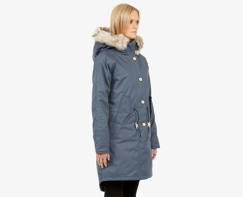 Elvine – dámská dlouhá zimní bunda/parka, kožešina na kapuci, modrá, Fishtail | Dámské zimní bundy a parky