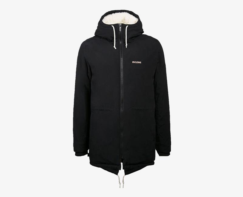 Pánská zimní bunda (parka) s kapucí s kožíškem — Mazine Capmus — černá | Pánské zimní bundy a parky s kapucí