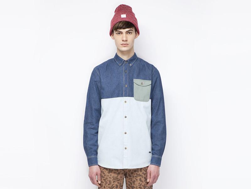 Ucon Acrobatics – pánská košile s kapsičkou a s dlouhým rukávem, dvoubarevná – světle modrá, tmavě modrá | Pánské značkové oblečení