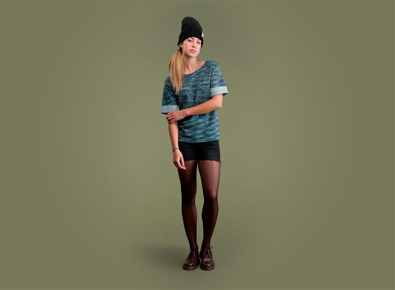 Wemoto – dámské tričko se vzorem – zeleno-modré | Dámské podzimní/zimní oblečení