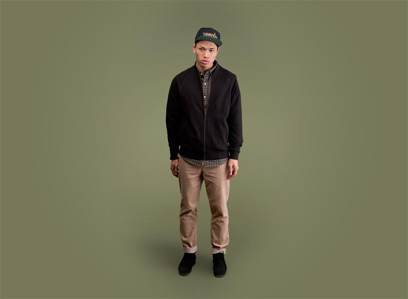 Wemoto – pánský černý bomber, bunda do pasu, jacket, pánské khaki kalhoty | Pánské podzimní/zimní oblečení