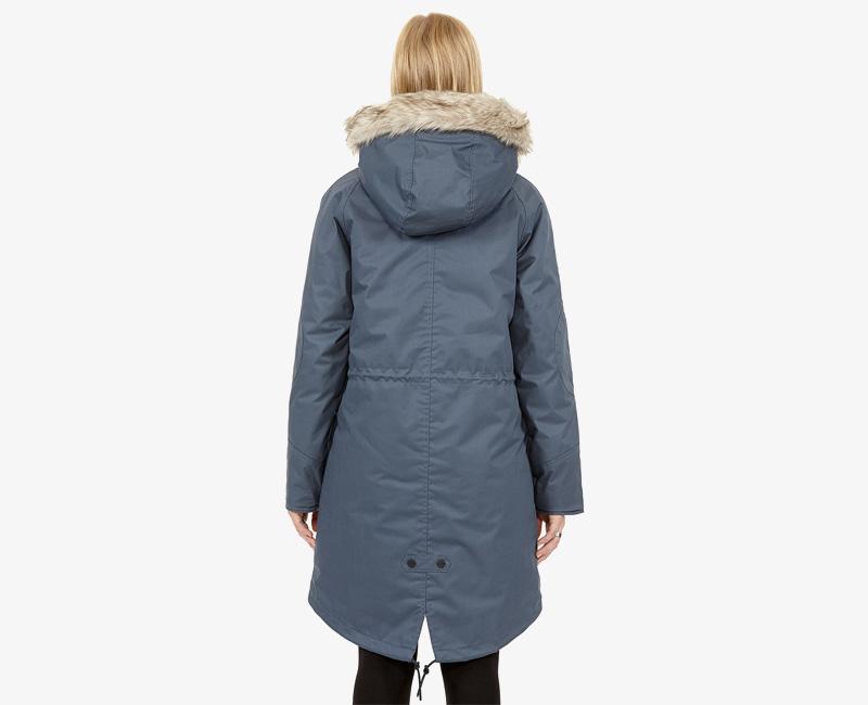 Elvine – dámská dlouhá zimní bunda/parka, kožešina na kapuci, spodní rozparek, modrá, Fishtail | Dámské zimní bundy a parky