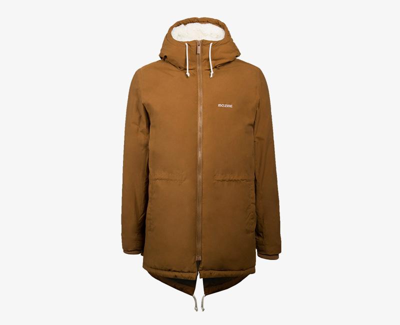Pánská zimní bunda (parka) s kapucí s kožešinou — Mazine Capmus — hnědá | Pánské zimní bundy a parky s kapucí