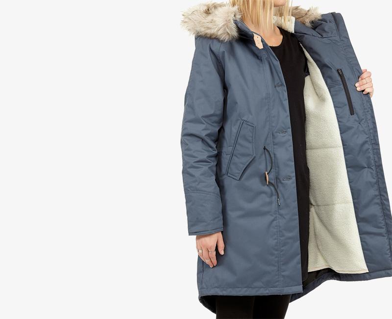 Elvine – dámská hřejivá dlouhá zimní bunda/parka, kožešina na kapuci, modrá, Fishtail | Dámské zimní bundy a parky