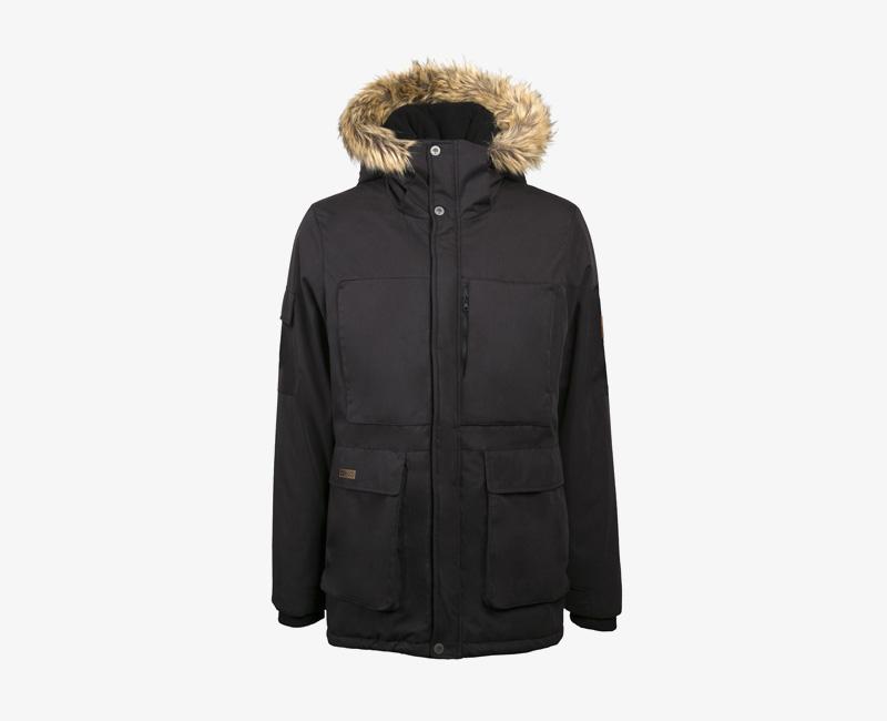 Pánská zimní bunda (parka) s kapucí s kožešinou na okraji — Mazine Vancouver — černá | Pánské zimní bundy a parky s kapucí