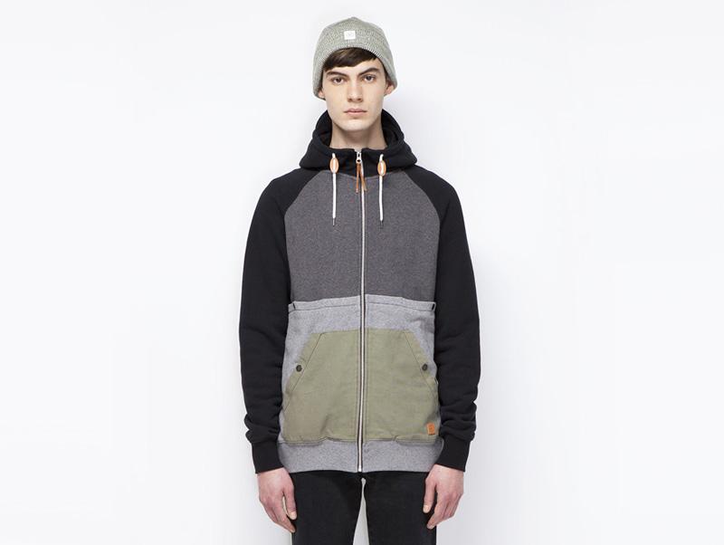 Ucon Acrobatics – pánská mikina na zip s kapucí, šedá, černá | Pánské značkové oblečení