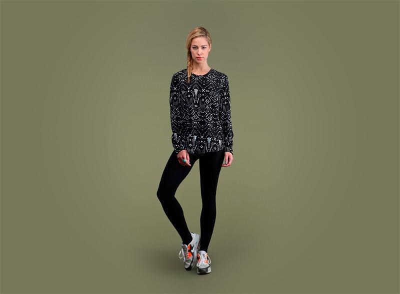 Wemoto – dámské černé tričko se vzorem – dlouhý rukáv | Dámské podzimní/zimní oblečení