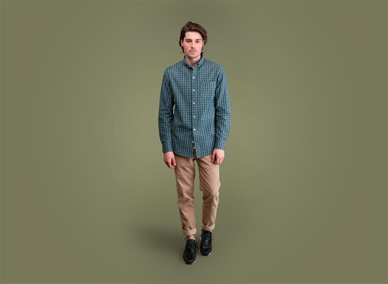 Wemoto – zelená kostičkovaná košile s dlouhými rukávem – pánská, pánské khaki kalhoty | Pánské podzimní/zimní oblečení