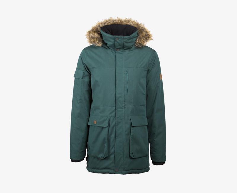 Pánská zimní bunda (parka) s kapucí s kožešinou na okraji — Mazine Vancouver — zelená | Pánské zimní bundy a parky s kapucí