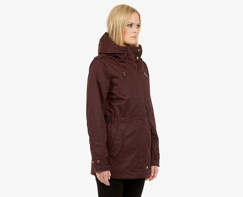 Elvine – dámská zimní bunda s kapucí, zimní parka s kapucí, vínová (bordó), Gunnel | Dámské zimní bundy a parky