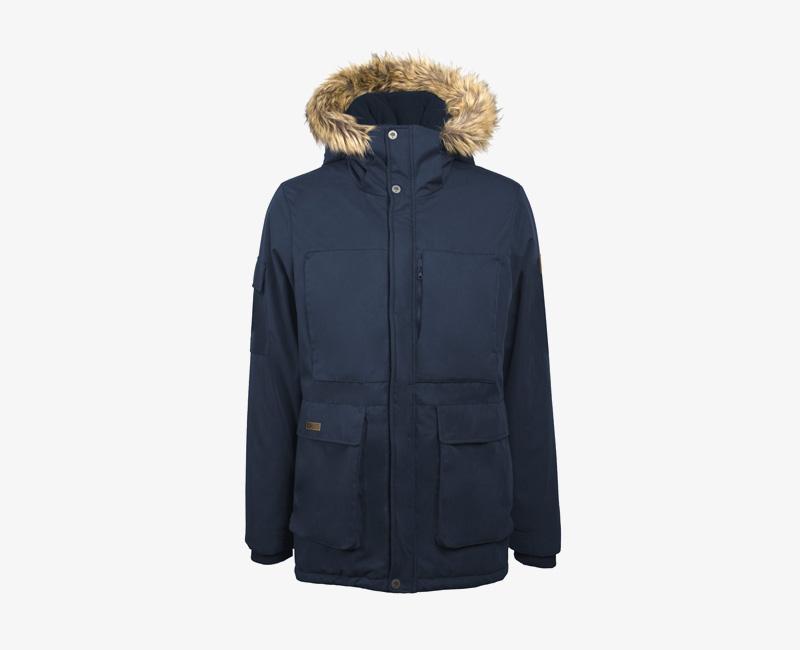 Pánská zimní bunda (parka) s kapucí s kožešinou na okraji — Mazine Vancouver — modrá | Pánské zimní bundy a parky s kapucí