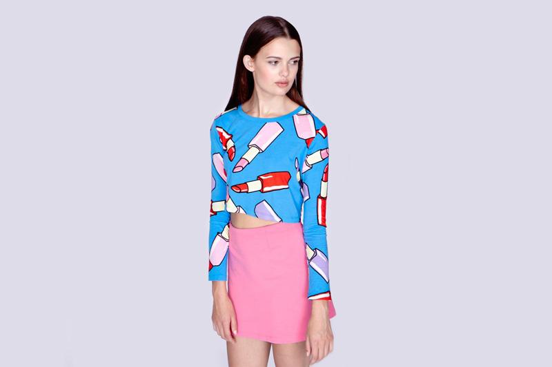 Lazy Oaf – dámský modrý top s dlouhým rukávem – motiv rtěnka | Dámské oblečení