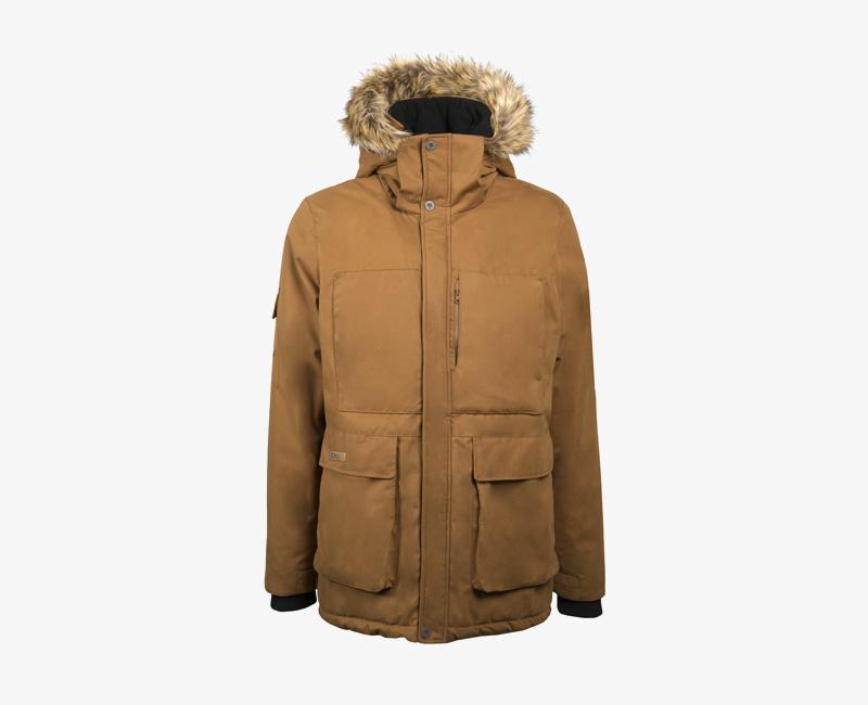 Pánská zimní bunda (parka) s kapucí s kožešinou na okraji — Mazine Vancouver — hnědá | Pánské zimní bundy a parky s kapucí