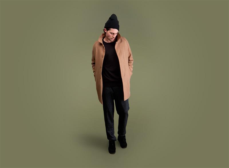 Wemoto – pánský světle šedý podzimní/zimní kabát, černé pánské kalhoty | Pánské podzimní/zimní oblečení