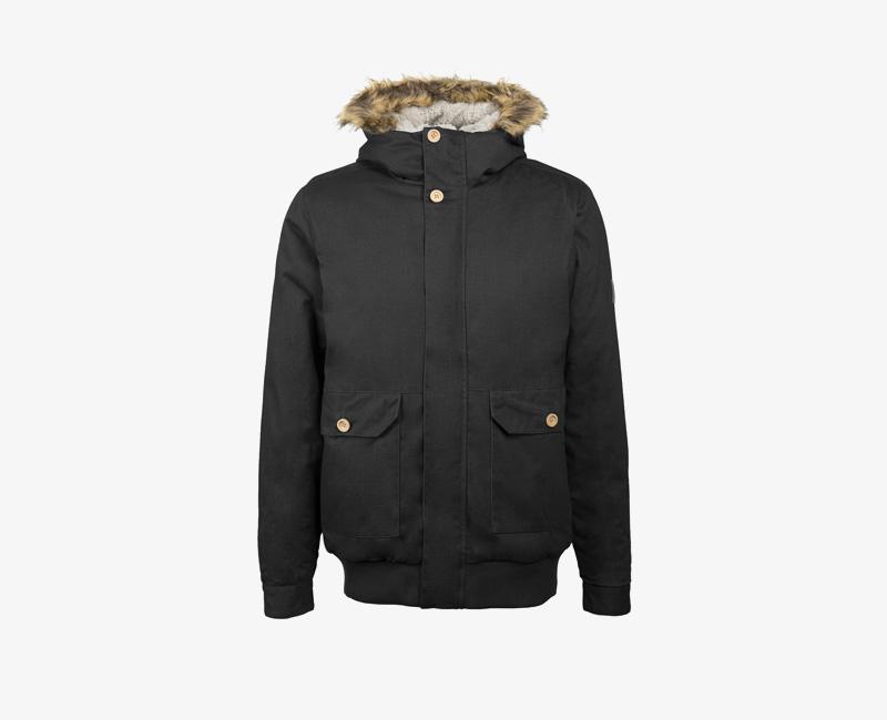Pánská zimní bunda s kapucí s kožešinou — Mazine Linus — černá | Pánské zimní bundy a parky s kapucí