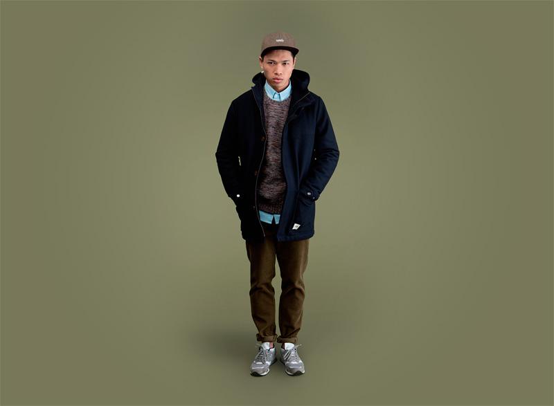 Wemoto – pánská zimní bunda (parka) s kapucí – modrá, zeleno-hnědé kalhoty – pánské | Pánské podzimní/zimní oblečení