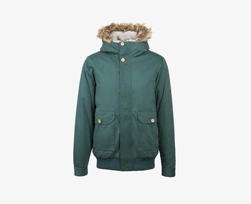 Pánská zimní bunda s kapucí s kožešinou — Mazine Linus — zelená | Pánské zimní bundy a parky s kapucí