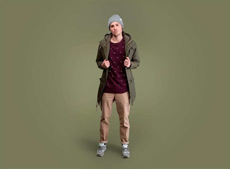 Wemoto – pánská olivová (bledě zelená, army) podzimní/zimní parka (bunda) s kapucí, khaki kalhoty | Pánské podzimní/zimní oblečení