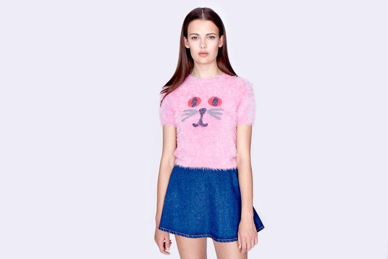 Lazy Oaf – dámský krátký chlupatý svetr – růžový, motiv koucour | Dámské oblečení