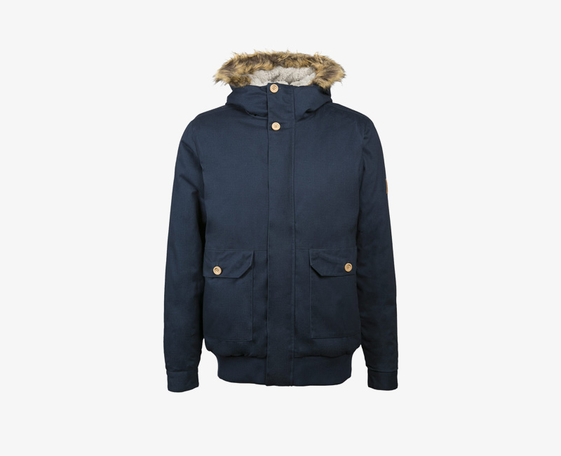 Pánská zimní bunda s kapucí s kožešinou — Mazine Linus — modrá | Pánské zimní bundy a parky s kapucí