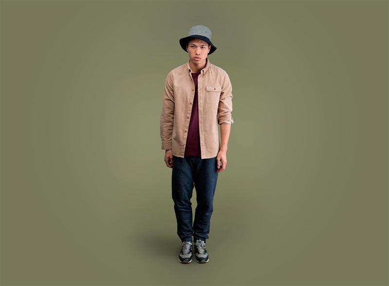 Wemoto – khaki pánská podzimní/zimní košile s dlouhým rukávem, modré tepláky | Pánské podzimní/zimní oblečení